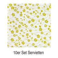 Teatime Servietten, Grün 10er Set - 10 x 20 Servietten