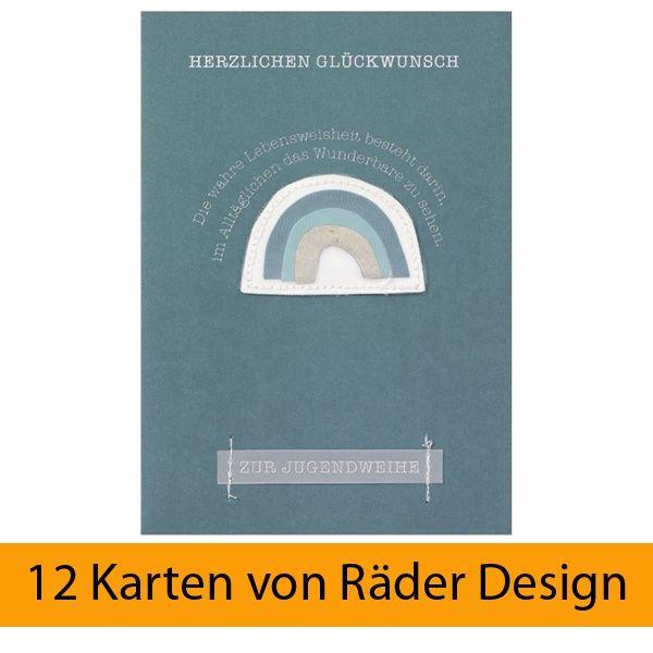 """Karte zur Jugendweihe """"Regenbogen"""" 12er Set"""