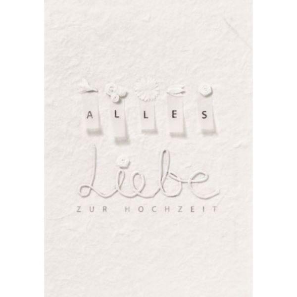 """Blütenhochzeitskarte """"Alles Liebe"""", weiß"""