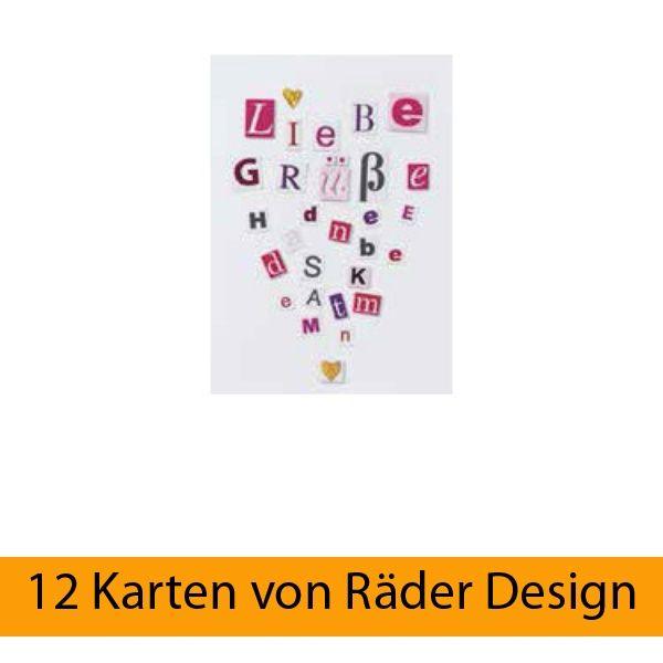"""Buchstaben Collagen Karte """"Liebe Grüße"""" 12er Set"""