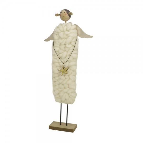 Engel-Figur mit Wollkleid, weiss