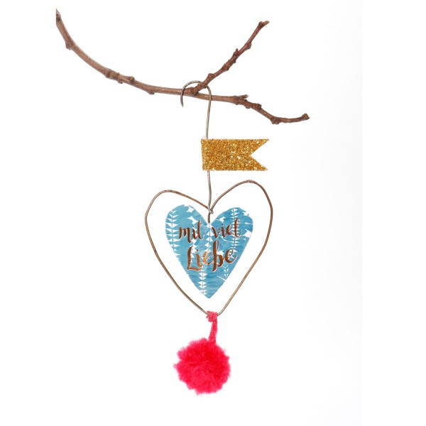 Mini PomPom Herzen - Mit viel Liebe