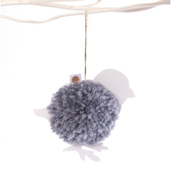 """PomPom Ornament """"Vogel mit Sonne"""""""