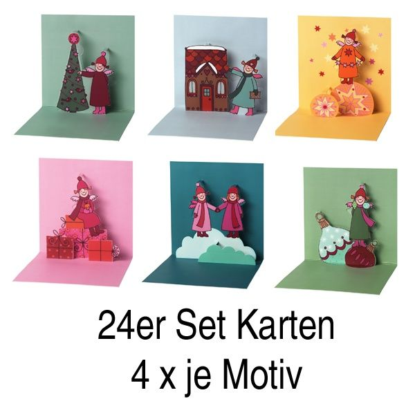 """Himmlische Schwestern Pop-Up Karte 24 tlg. """"Motiv 1,2,3,4,5 und 6"""" je 4 x"""