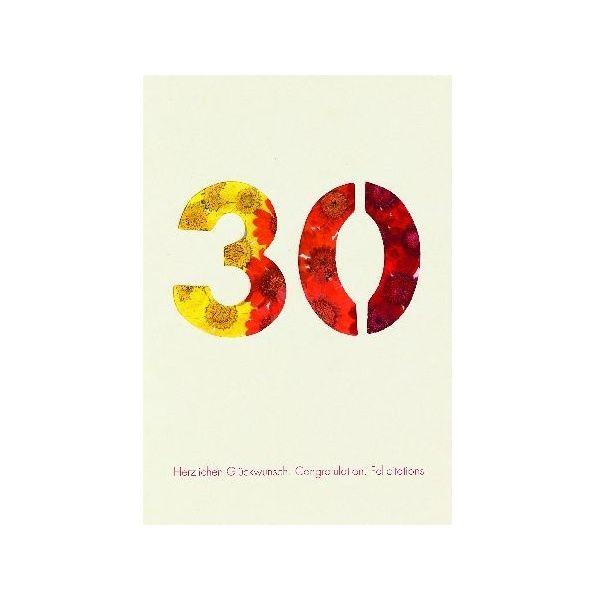 """Blumenzahlenkarte """"30 - Herzlichen Glückwunsch"""""""