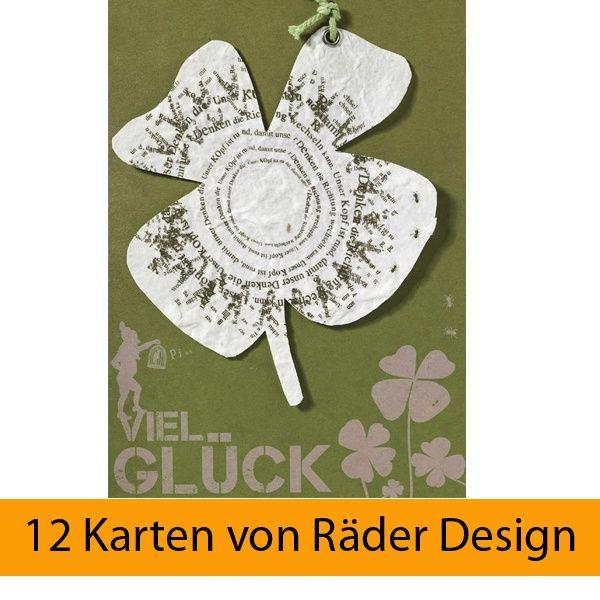 """Gartenhängerkarte """"Viel Glück"""" 12er Set"""