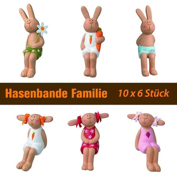Hasenbande - Mini Kantenhocker - Familie - 10 x 6er-Set
