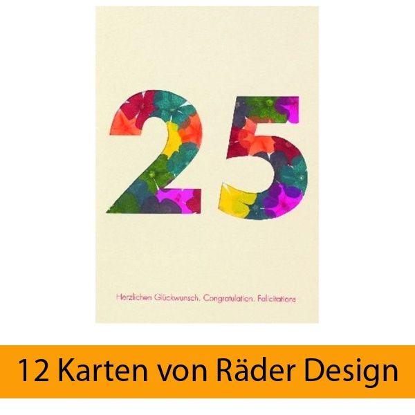 """Blumenzahlenkarte """"25 - Herzlichen Glückwunsch"""" 12er Set"""