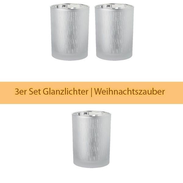 """Glanzlicht """"Schrift"""", Silber 3er Set"""