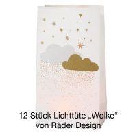 """Winterzucker Lichttüte """"Wolke"""" inkl. Teelichtgläser 12 Stück"""