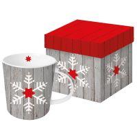 "XXL Henkelbecher ""Snowflake on Wood"""