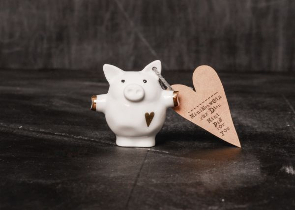 """Mini Schweine """" Herz gold"""""""