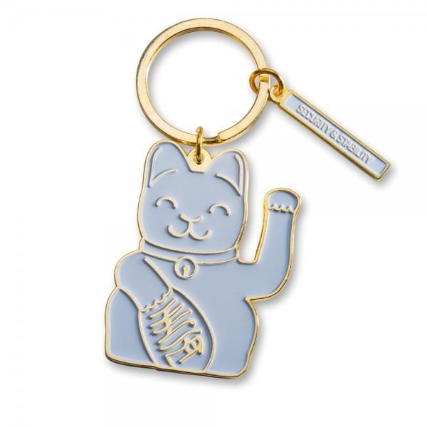 Lucky Cat Keyring, Grey