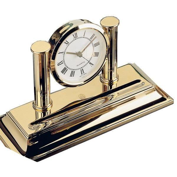 Uhr mit Stiftablage - 23-Karat vergoldet
