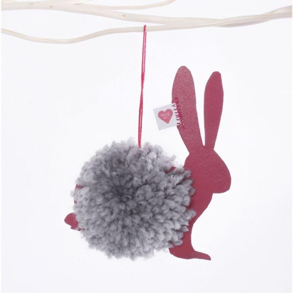 "PomPom Ornament ""Hase mit Herz"""