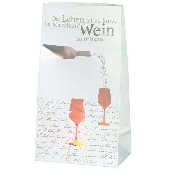 """Design Lichttüte """"Das Leben ist zu kurz, um schlechten Wein zu trinken."""" 2er Set"""