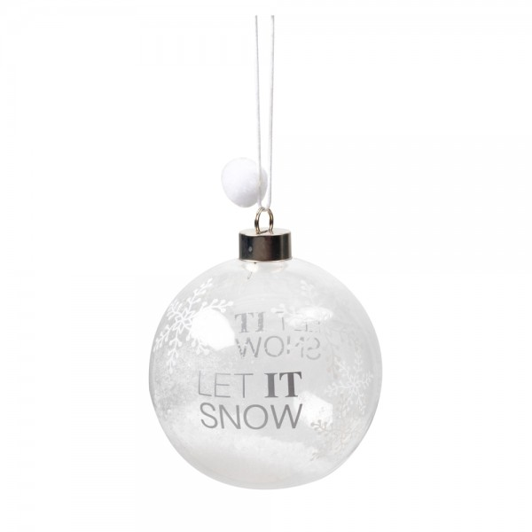 "Wunderkugel 4er Set ""Let it snow"", silber"