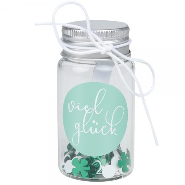"""Kleines Geschenkglas """"Viel Glück"""""""