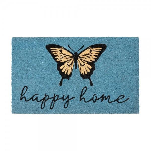 "Fussmatte ""Happy Home"", blau"