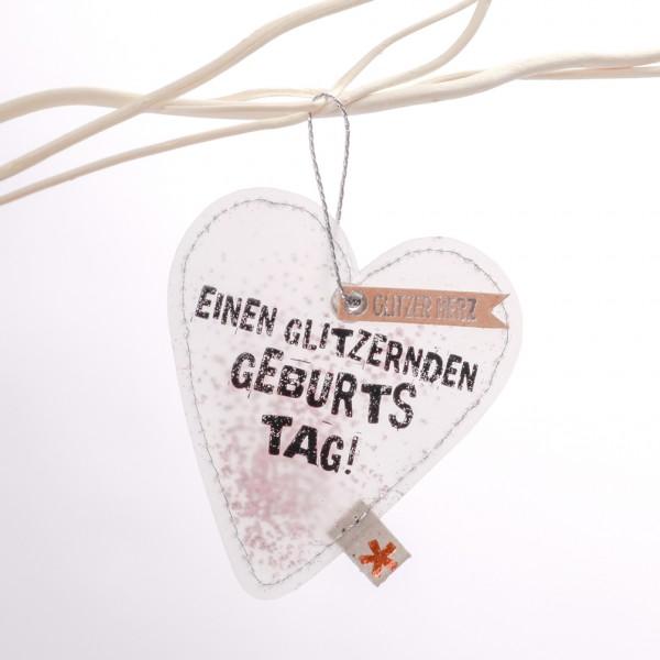 """Glitzer Herz """"Einen glitzernden Geburtstag"""""""