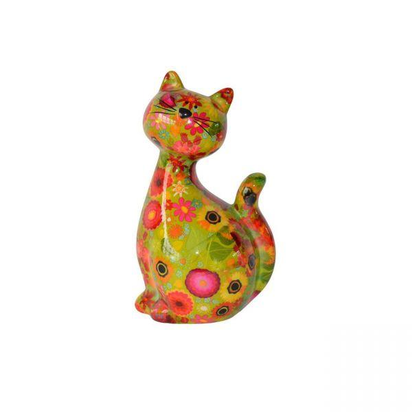 """Katze """"Caramel"""" M - Grün mit Blumen"""