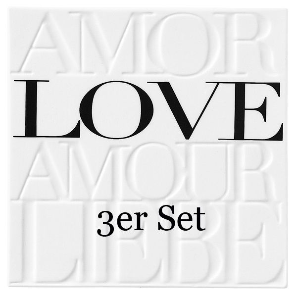 "Porzellanbild ""Amor Love Amour Liebe"" 3er Set"