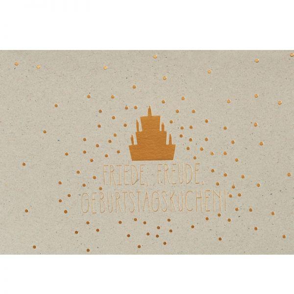 """Graupappen Geburtstagskarte """"Friede, Freude"""", gold"""