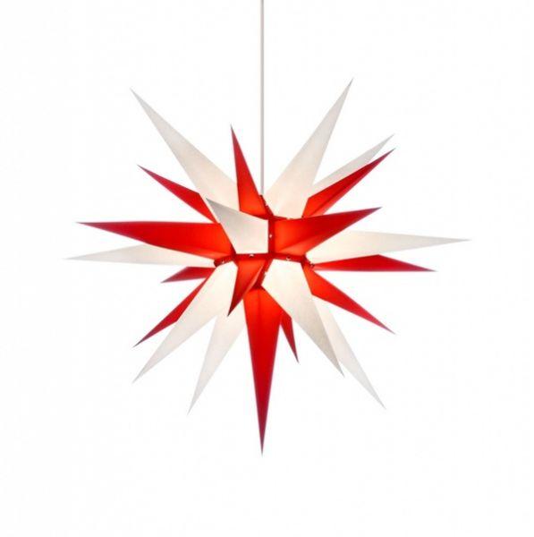 Herrnhuter Stern für Innen, Weiß-Rot 80 cm