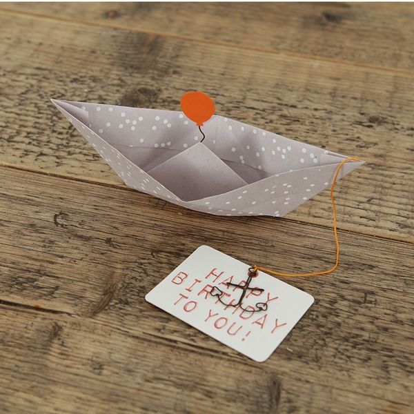 "Papierbootkarte ""Happy Birthday"""