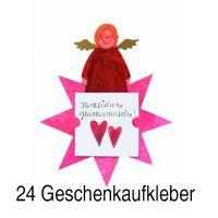 """Geschenkaufkleber Karte - """"Herzlichen Glückwunsch 1"""" 24er Set"""