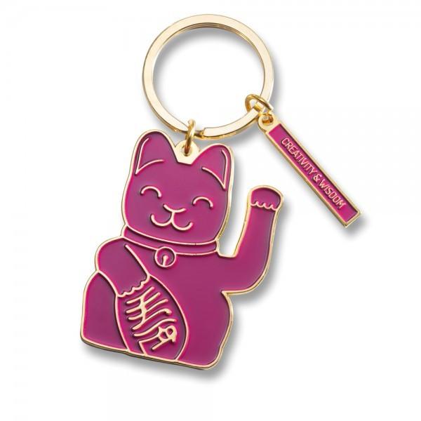 Lucky Cat Keyring, Purple