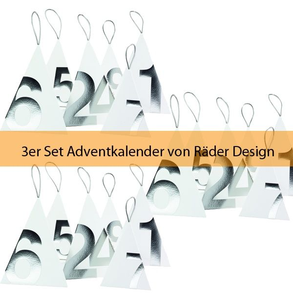 Räder Touch of Gold Adventskalender, Silber 3er Set
