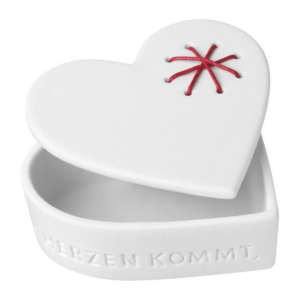Porzellan Herzdose groß