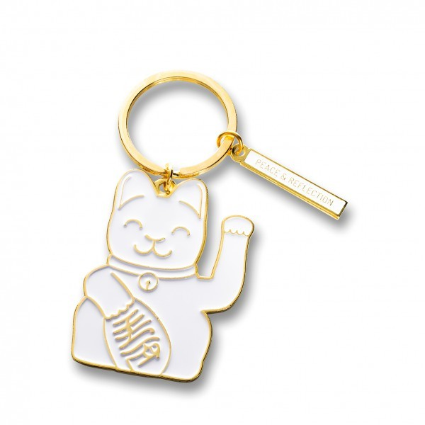 Lucky Cat Keyring / weiss