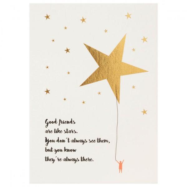 """Mein Lieblingsmensch Postkarte """"Good friends are like stars"""""""