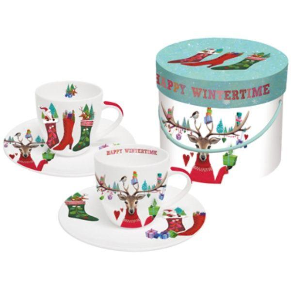 Espressotassen mit Untertasse Happy Wintertime