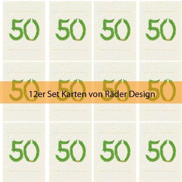 """Jubiläumskarte """"50 - Herzlichen Glückwunsch"""" mit Kranz grün 12er Set"""
