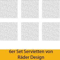"""Serviettenkollektion """"Text"""" 6er Set"""