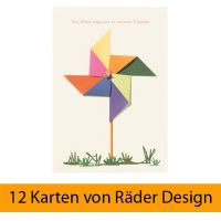 """Windrad Karte """"Der Wind trägt uns zu unseren Träumen"""" 12er Set"""