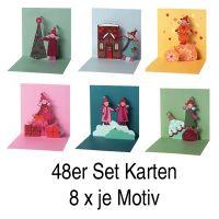 """Himmlische Schwestern Pop-Up Karte 48 tlg. """"Motiv 1,2,3,4,5 und 6"""" je 8x"""