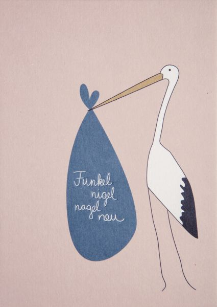 Grußpost Babygrußkarte - Storch