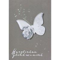 """Schmetterling Karte """"Herzlichen Glückwunsch"""", Grau"""