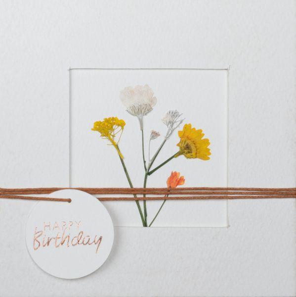 """Blumenpasspartout Karte """"Happy Birthday"""""""