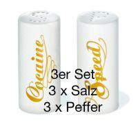 """Salz-und Pfefferstreuer """"Speed & Cocaine"""" 3er Set"""