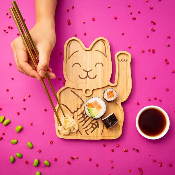 """Bamboo Plate """"Lucky Cat"""""""