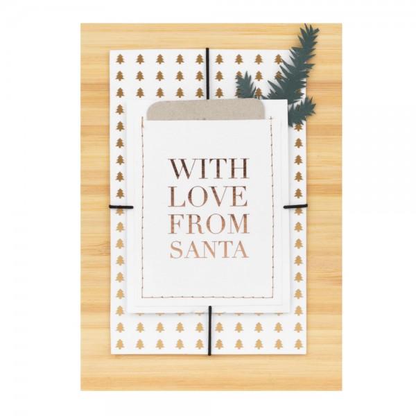 """Weihnachtsgeschenkkarte """"With love form Santa"""""""