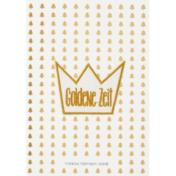 """Weihnachtsaufnäher Karte """"Goldene Zeit"""""""