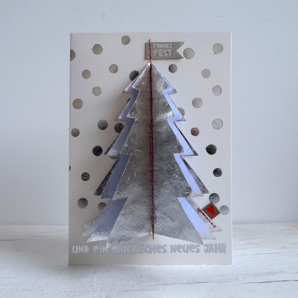 "Winter Baumkarte ""Silber Zen"""