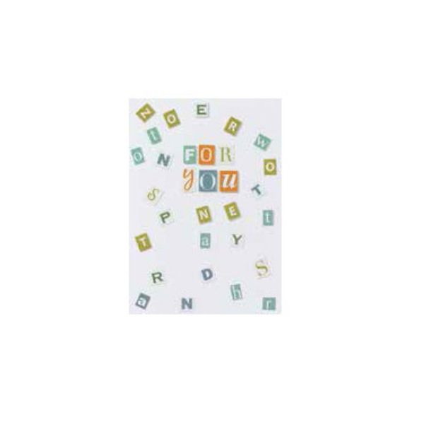 """Buchstaben Collagen Karte """"For You"""""""