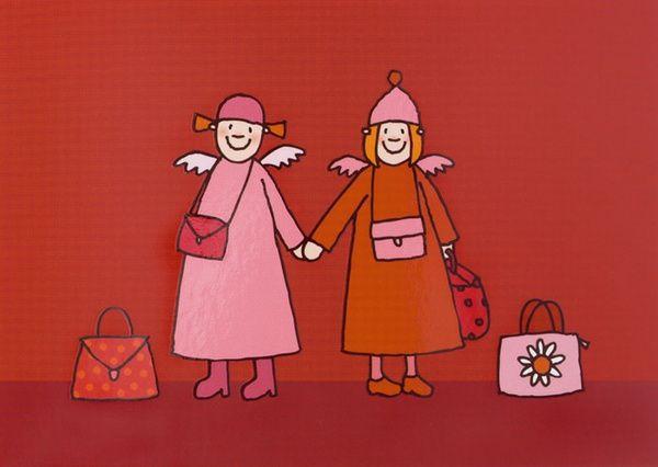 """Himmlische Schwestern - Postkarte """"Hand in Hand"""""""